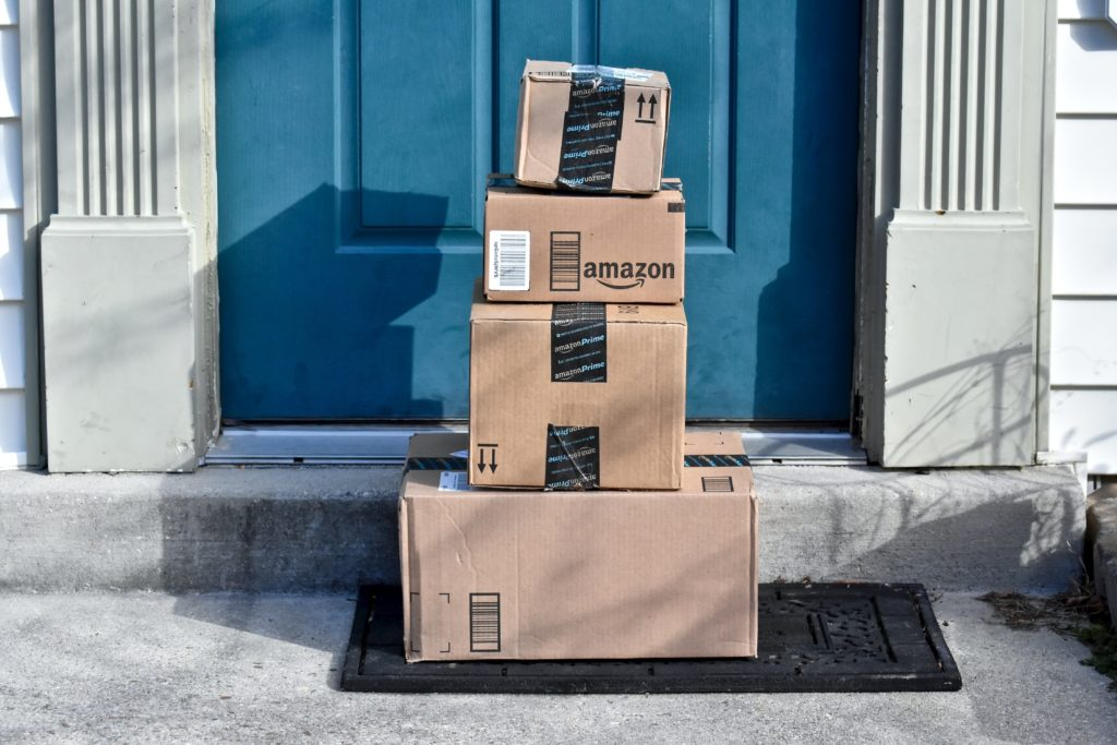 Amazon parcels delivery outside the door