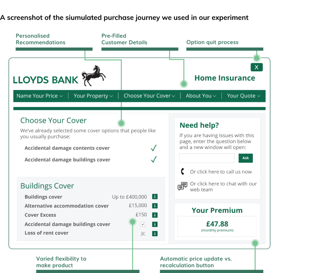 A screenshot from Lloyds bank experiment Dectech worked on.