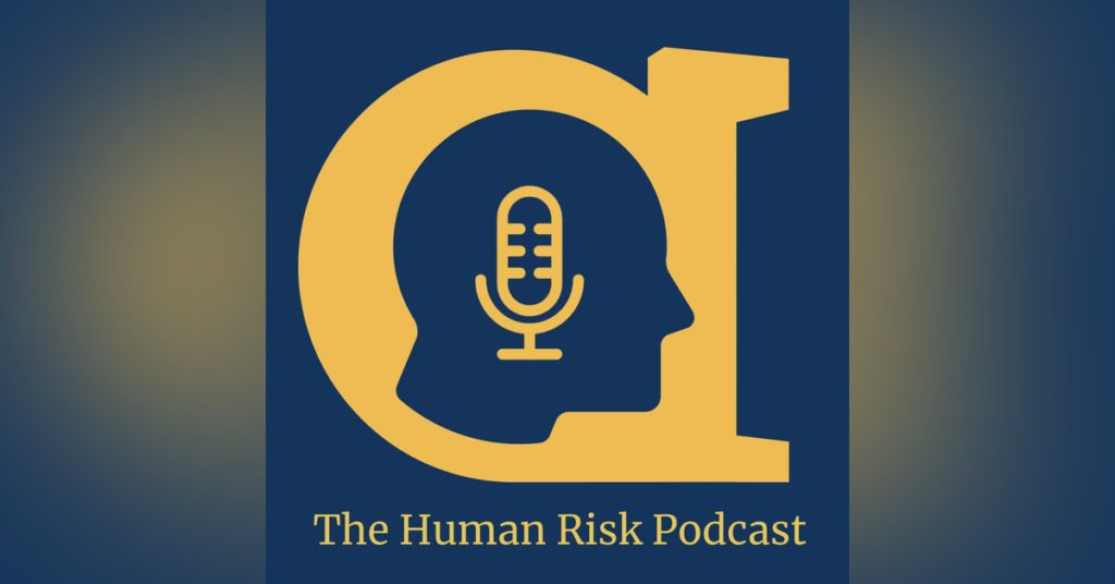 The human risk podcast. A photo in navy blue background depict lowercase 'a' letter with a human profile picture in it